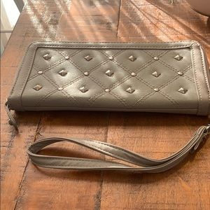 Gray Studded Zip Around Wallet with Strap
